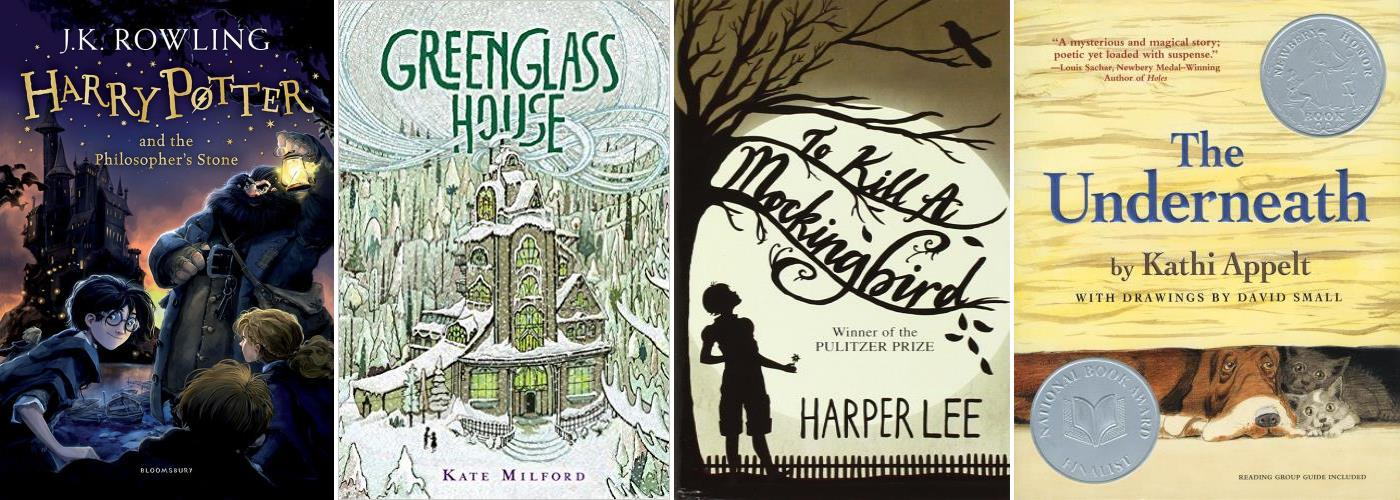 Harry Potter, The Greenglass House, To Kill a Mockingbird, The Underneath